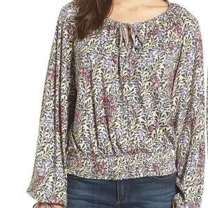 Lucky Brand full sleeve floral print peasant top S